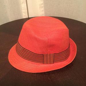 Red Straw Fedora Hat
